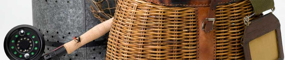 Picture of fly rod, wicker basket, and bucket