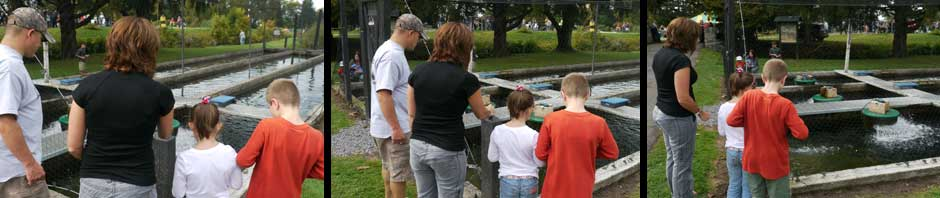 A family viewing a fish raceway